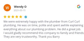 Curl Curl Plumbing - Google Review # 60